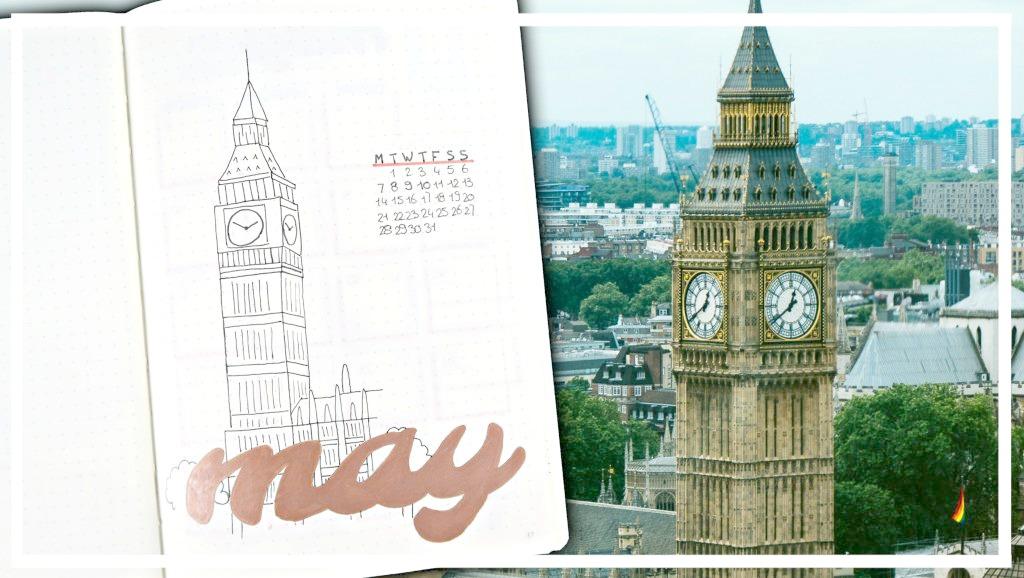 Bullet journal - mei 2018 // Londen thema